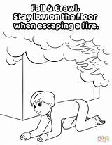 Coloring Fire Pages Under Smoke Crawl Low Safety Fall Printable Drawing Crafts London sketch template