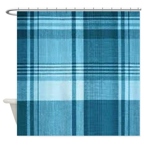 blue plaid shower curtain by listing store 2738980