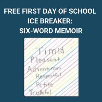 day  school ice breaker  word memoir tpt