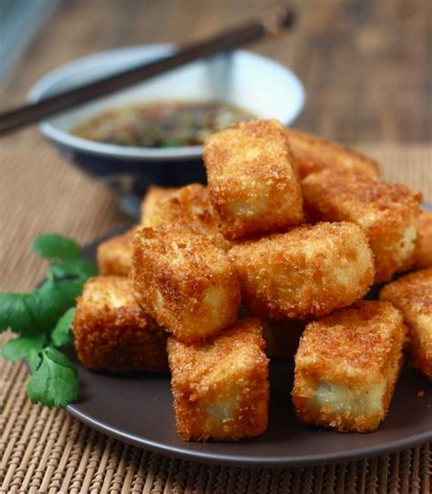 Fried Tofu With Sesame Soy Dipping Sauce Season With Spice