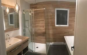 Salle De Bain En Bois : salle bain zen bois et blanc construction d st onge ~ Teatrodelosmanantiales.com Idées de Décoration