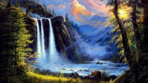 wallpaper scenery waterfall 53 images