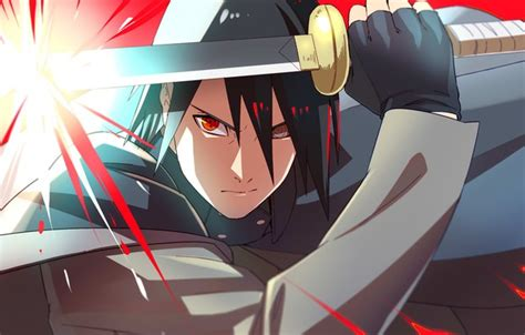 Wallpaper Anger, Naruto, Katana, Sharingan, Uchiha Sasuke