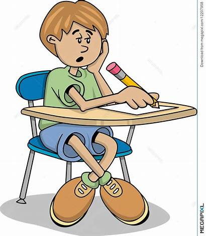 Tired Clipart Student Boy Bored Lazy Homework