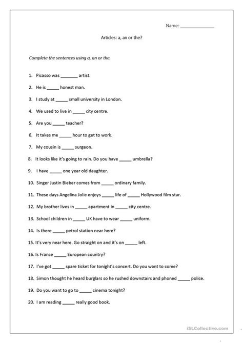 articles worksheet a an the includes answers worksheet free esl printable worksheets made