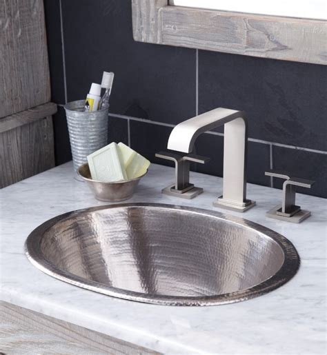 cameo copper bath sink in brushed nickel by trails