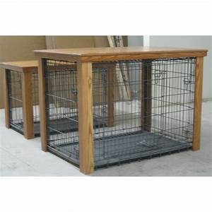 wooden table dog crate cover With table over dog crate