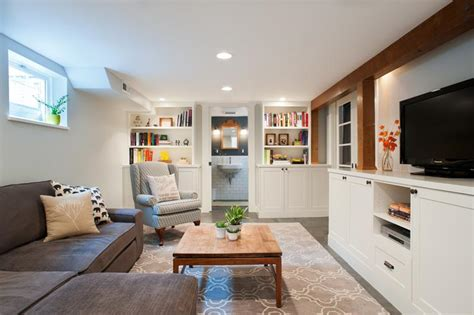 charming  bright finished basement designs