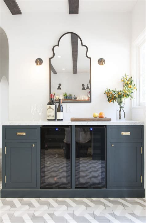 navy blue bottom kitchen cabinets navy white and brass kitchen