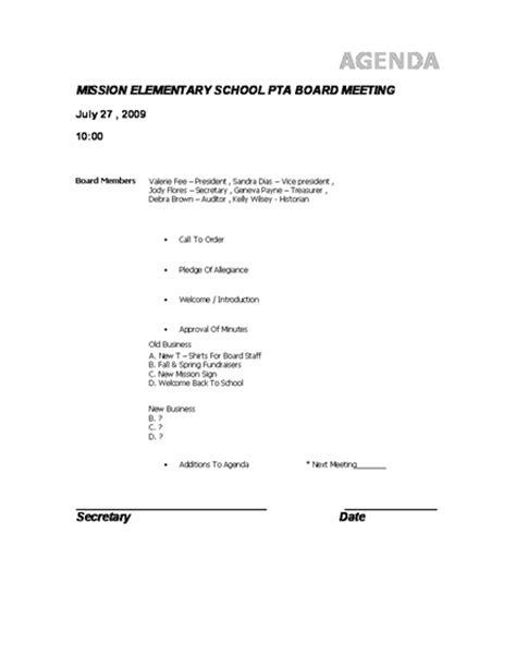 agenda template  pta microsoft word template ms