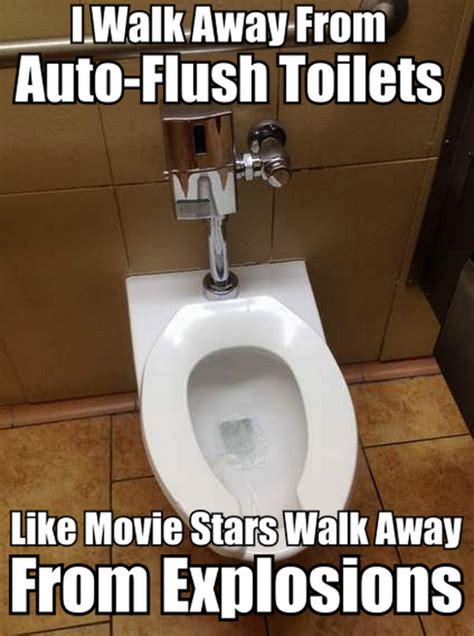 walk   auto flush toilets meme meme collection