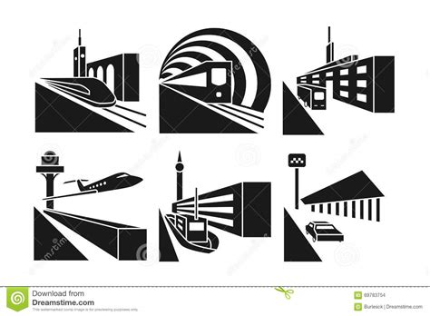 Transportation Stations Vector Icons Set Stock Vector