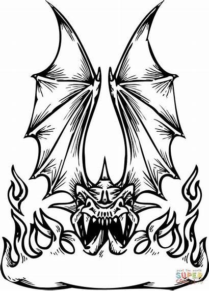 Dragon Coloring Fire Breathing Draken Drawing Printable