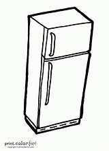 Fridge Refrigerator Coloring Pages Kitchen Printcolorfun sketch template