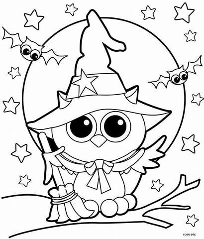 Coloring Halloween Pages Witch Owl Adults Fun