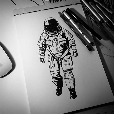 astronaut in space drawing the end of inktober this northern boy