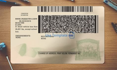 license massachusetts driver template psd driving only