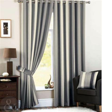 cortinas rayas cortinas de sal 243 n modernas a rayas gris y crema cortinas