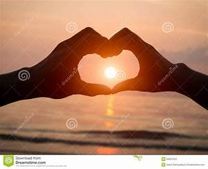 Couple Holding Hands Heart Love At Sunset On Beach Stock ...