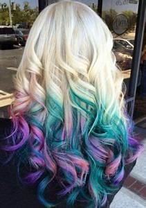 Blaue Haare Ombre : blonde teal blue pink ombre dyed hair idea gef rbte haare pinterest bunte haare ~ Frokenaadalensverden.com Haus und Dekorationen