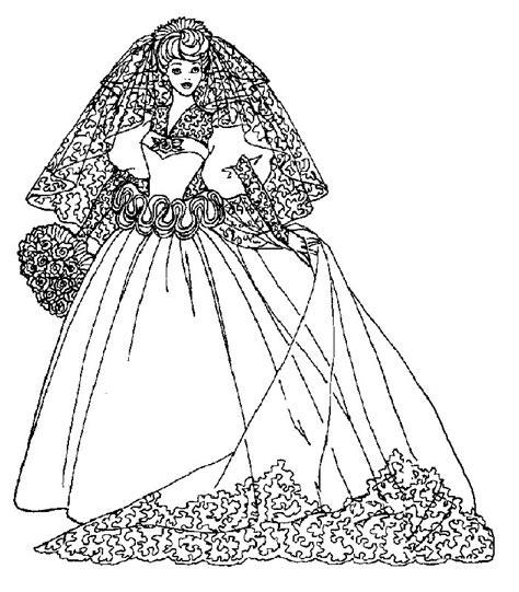 In questo disegno, barbie indossa un meraviglioso abito da ballo. Barbie Sposa, Disegni per bambini da colorare