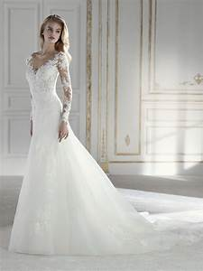 Pina mermaid wedding dress with long sleeves and illusions for Pina wedding dress