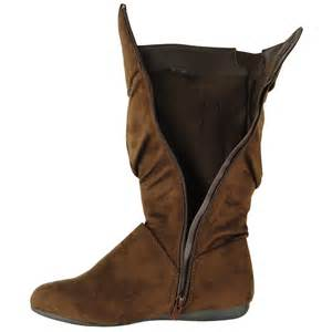 womens boots mid calf flat womens casual comfort mid calf slouchy cuffed collar faux suede flat boots brown ebay