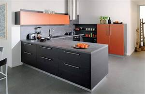 cuisine noir et orange photo 7 10 le mobilier est With cuisine orange et gris