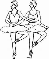 Coloring Ballet Ballerina Pages Dancer Duo Synchronize Dance Cute Position Fifth Doing sketch template