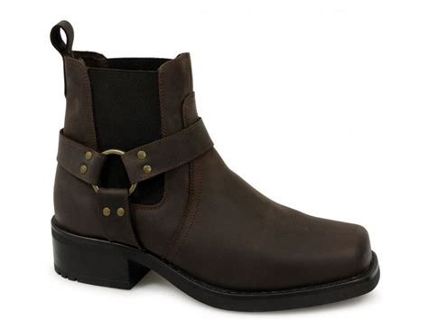 Gringos Harley Mens Waxy Leather Square Toe Ankle Biker