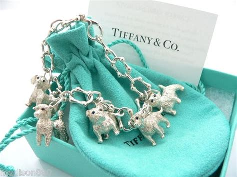 tiffany  silver blue sapphire dogs poodle westie charm