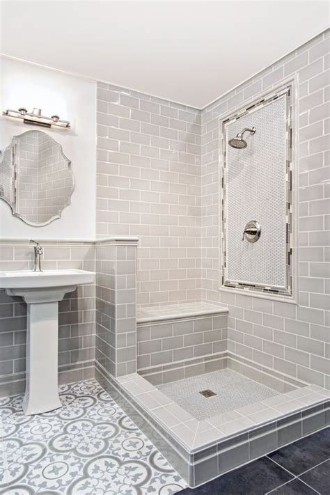 Light blue and grey bathroom floor tile   Cheverny Blanc
