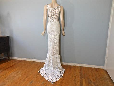 Handmade Hippie Wedding Dress Crochet Boho Wedding Dress Lace