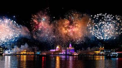Fireworks Shanghai Night China Harbour Terrace Dinner