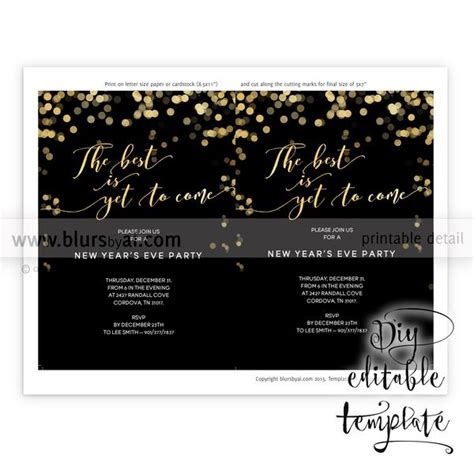 printable  years eve party invitation template