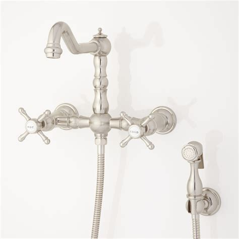Price Pfister Wall Mount Kitchen Faucet by Wall Mount Faucet With Side Spray Cross Handles