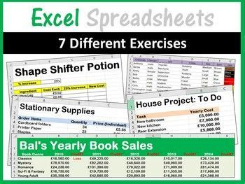 microsoft excel spreadsheets activities worksheets