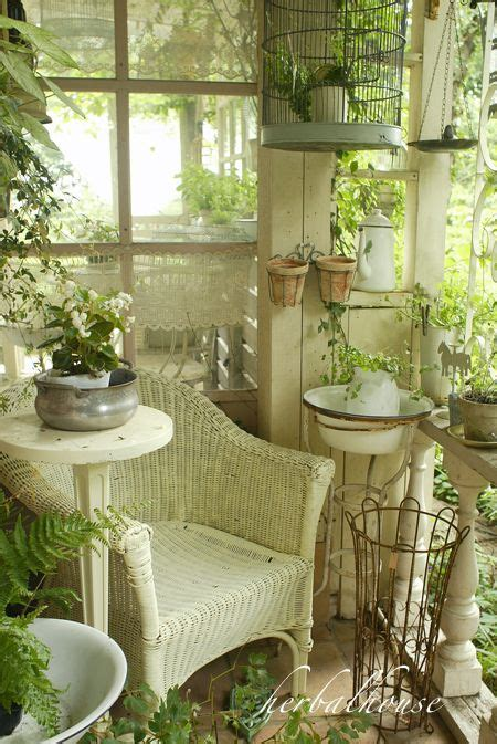 shabby chic garden room some of these elements would work in my back entry laundry room i have the wicker and a bird