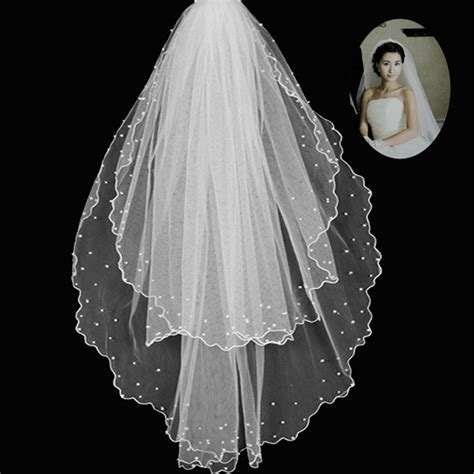 Wedding Accessories Short Bridal Veils With Pearl Layers