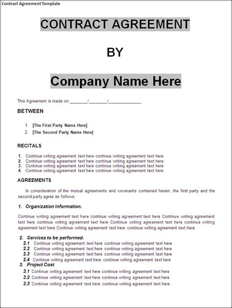 agreement template 10 best images of standard contract agreement template employment contract agreement template