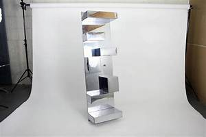 1970s geometric polished metal wall sculpture shelf With kitchen cabinets lowes with geometric metal wall art