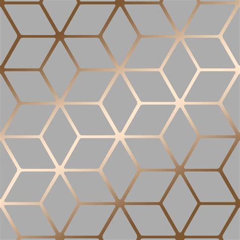 House of Alice Cubic Shimmer Metallic Wallpaper Grey, Gold