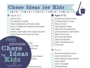 Free Printable Chore Ideas for Kids