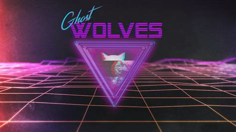 synthwave wolf triangle grid retro style neon