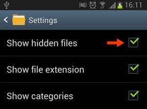 samsung galaxy    hide  unhide folders