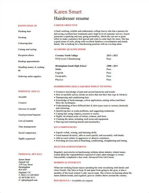 hair stylist resume template 9 free sles exles