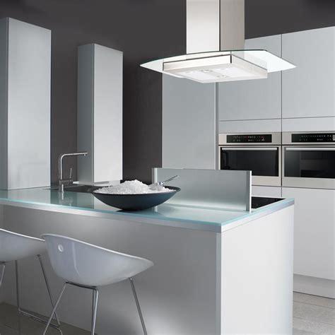 hotte cuisine 90 cm hotte îlot kili de chez silverline en inox et verre