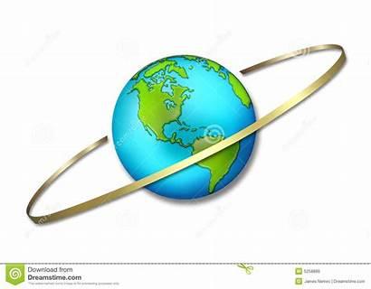 Globe Circling Around Ring Earth Illustration Royalty