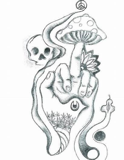 Coloring Stoner Pages Printable Mushroom Tattoo Skull