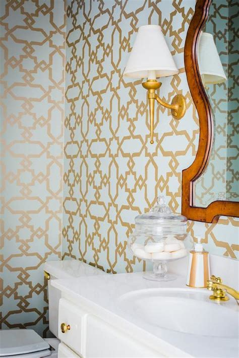 powder room  gold  blue lotus wallpaper